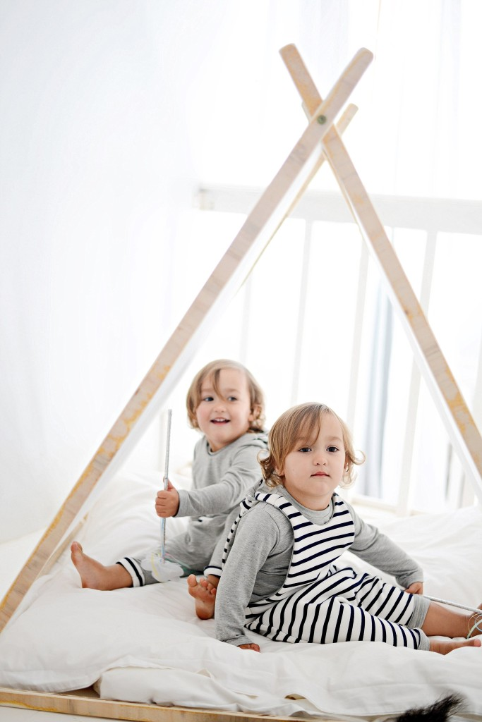 Toddlers in a tepee