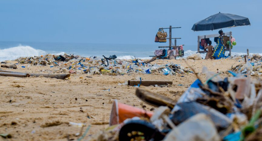 Photo of plastic waste on beach