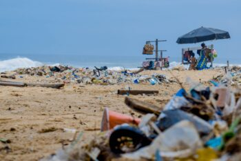 Photo of plastic waste on beach