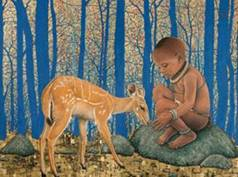 Image of boy and deer