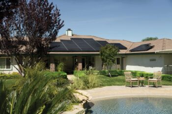 Photo of solar panels on roof of house