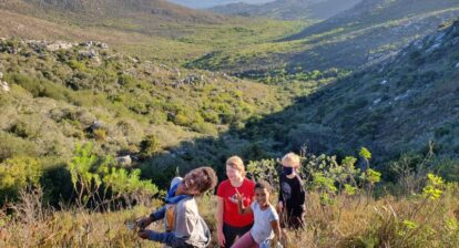 children hiking in nature