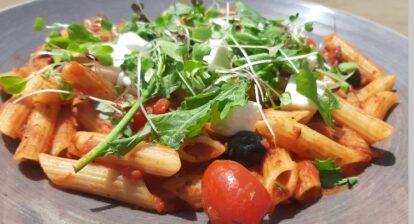 Spicy tomato mushroom and olive penne