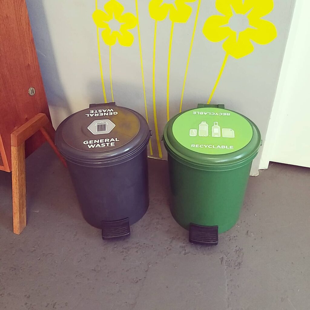 separate bins for recycling