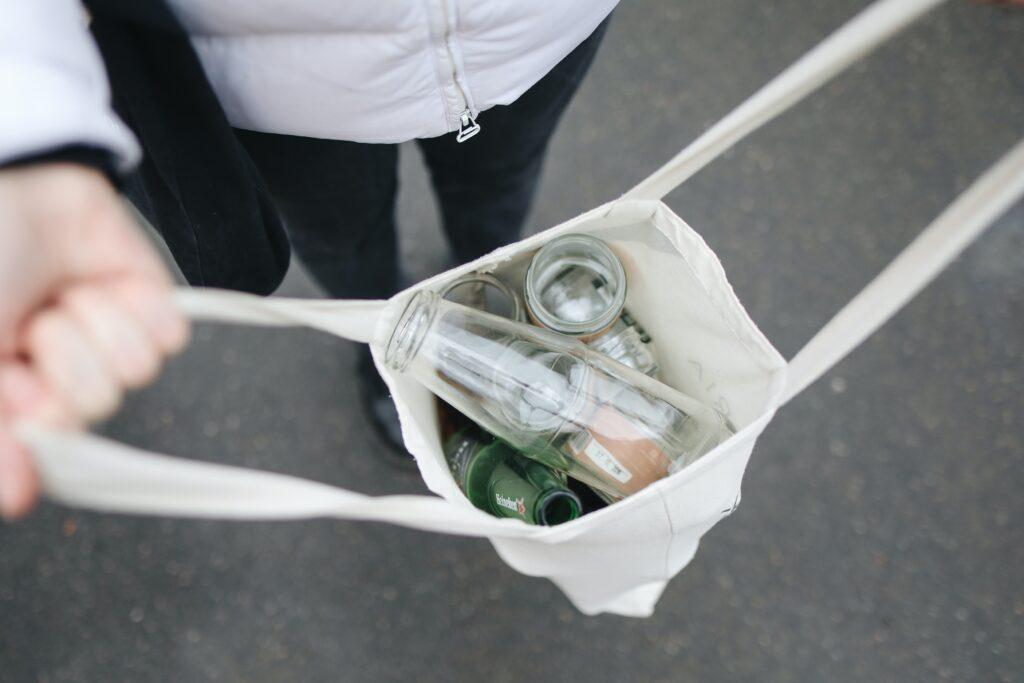 Glass bottles in a bag