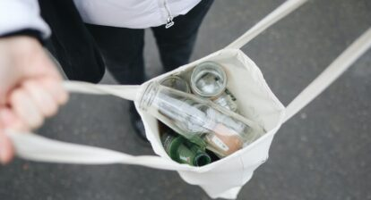 Glass bottles in a bag