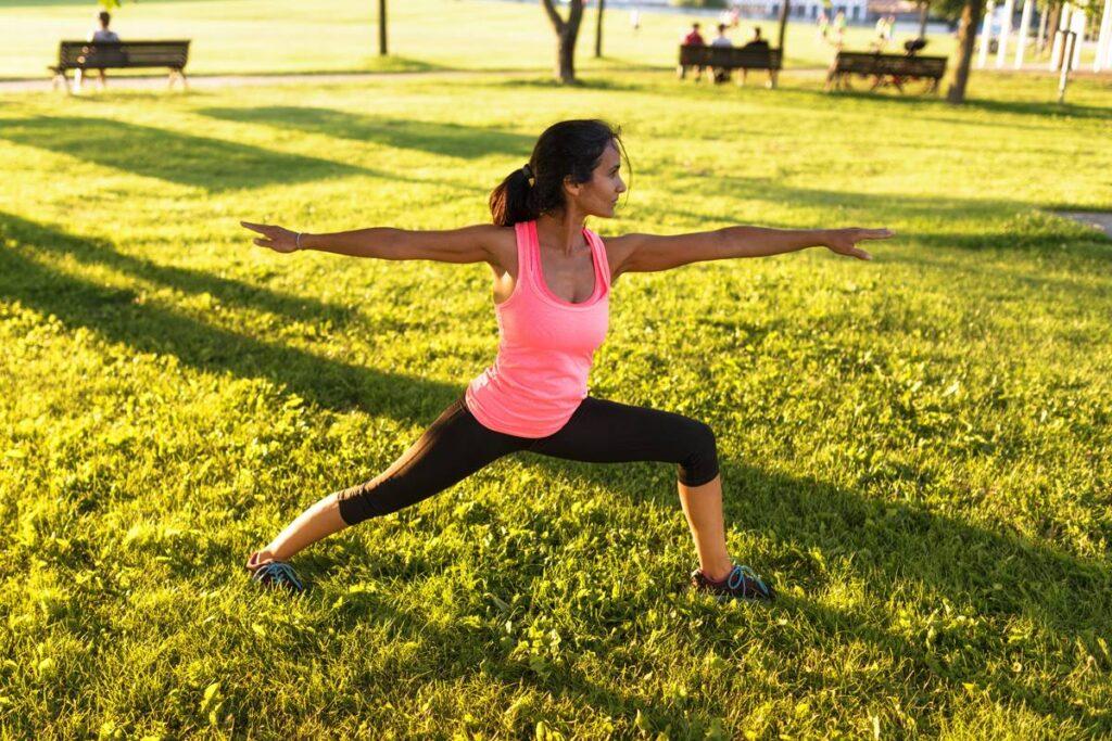 Lady practising yoga