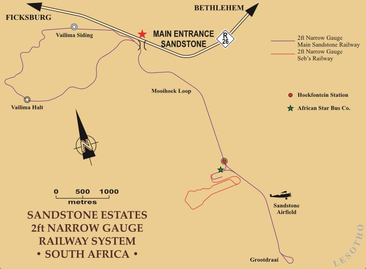 map showing road to sandstone